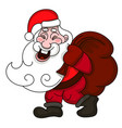 smiling santa claus with a full bag of gifts vector image