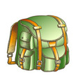 tourist travel backpack suitcase color vector image vector image