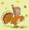 turkey bird cartoon character hiding under a bag vector image vector image