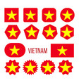 vietnam flag collection figure icons set vector image