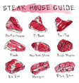 watercolour popular steak types set beef cuts vector image vector image