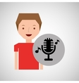 young boy music concept microphone classic vector image