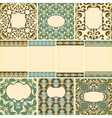10 cards in retro style with floral seamless flora vector image