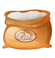 Bag of rice on white background vector image vector image