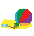 Balls and a children paddle vector image vector image