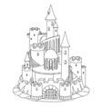 black white fantasy castle sand sandcastle vector image