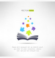 Book icon with puzzle pieces flying from it vector image vector image