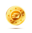 bright glossy golden coin with dashcoin sign on vector image