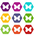 butterfly with beautiful wings icons set 9 vector image vector image