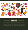 casino club and gambling roulette and poker game vector image vector image
