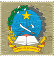 Coat of arms of Angola on the old postage stamp vector image