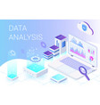 data analysis isometric web banner template vector image vector image