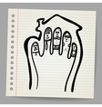 Doodle Fingers Family in the house vector image