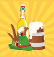 drink mug bottle of beer hat background ima vector image vector image