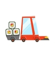 Fast Delivery Takeout Service Red Car With Trailer vector image vector image