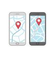 gps navigation on screen mobile phone vector image