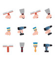 hand hold tools paint roller brush putty knife vector image vector image