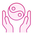 Hands holding yin yang flat icon yin yang symbol