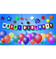 happy birthday with text and balloons vector image vector image