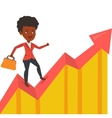 Happy businesswoman running on profit chart vector image vector image