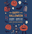 happy halloween flat poster template vector image
