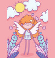 happy valentines day flying cute cupid hearts vector image