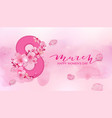 happy women s day 8 march with cherry blossoms vector image vector image