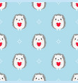hedgehogs with hearts seamless pattern vector image vector image