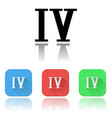 iv roman numeral icons colored set vector image