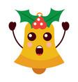 kawaii christmas jingle bell surprise expression vector image