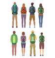 man and woman standing with backpack outdoor vector image