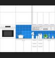 modern kitchen in black line sketch vector image vector image