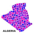 mosaic algeria map of square elements vector image vector image