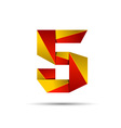Number five 5 icon design template elements 3d vector image vector image