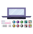 professional makeup case and shadow set icon flat vector image vector image