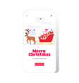 santa claus riding in sledge with reindeer merry vector image