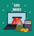 save money on line with laptop vector image