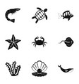 sea nature icons set simple style vector image vector image