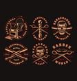 set black and white barber emblems on a dark vector image vector image