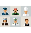 Set Flat Icons with Man of Different Professions vector image vector image