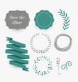 set floral labels and ribbons for wedding vector image