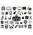 set of school icons on white background vector image vector image