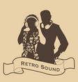 silhouette of dj couple retro style with vector image vector image