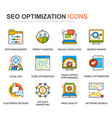 simple set seo optimization line icons for website vector image vector image