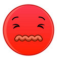 skeptical red emoticon icon cartoon style vector image vector image
