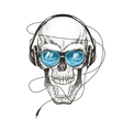 smiling skull listening a music in headphones vector image vector image