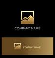 square mountain icon gold logo vector image