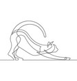 stretching cat continuous line art vector image