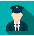 Train conductor flat icon vector image vector image