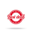 best deal label red color isolated on white vector image